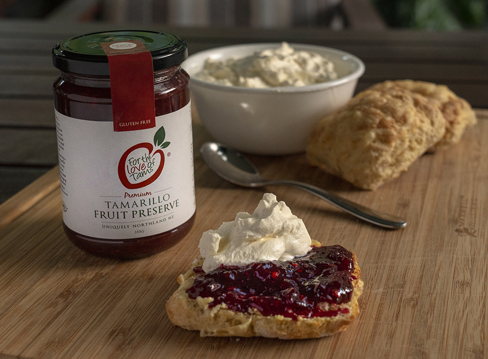 Tamarillo preserve on scones