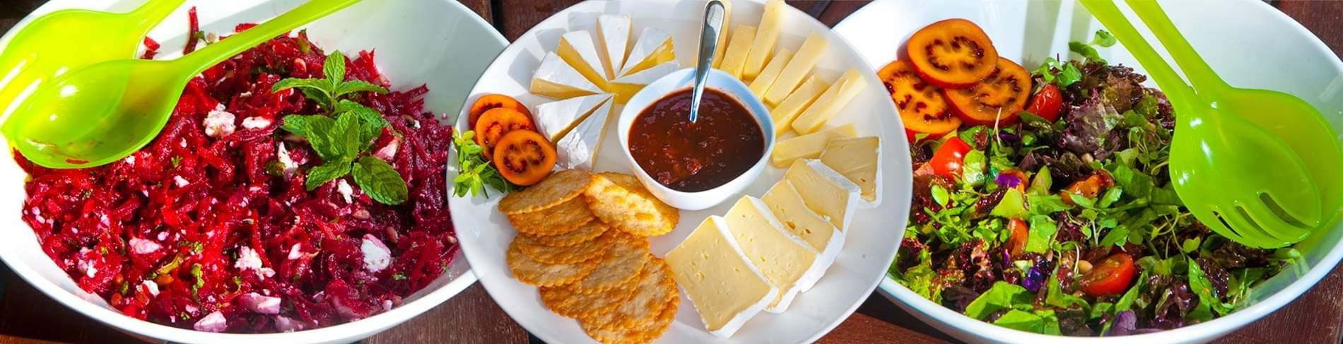 Tamco tamarillo relish and vinaigrette with salads and cheese